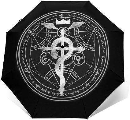 Fullmetal Alchemist Transmutación Círculo Resistente al Viento Compacto Auto Abrir y Cerrar Paraguas Plegable, automático Plegable Paraguas de Viaje: Amazon.es: Equipaje