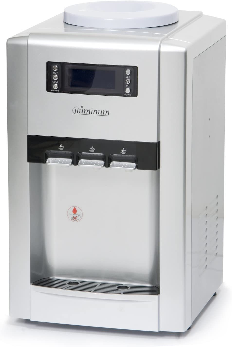 Cold Hot and Room Temperature Countertop Water Cooler in Silver