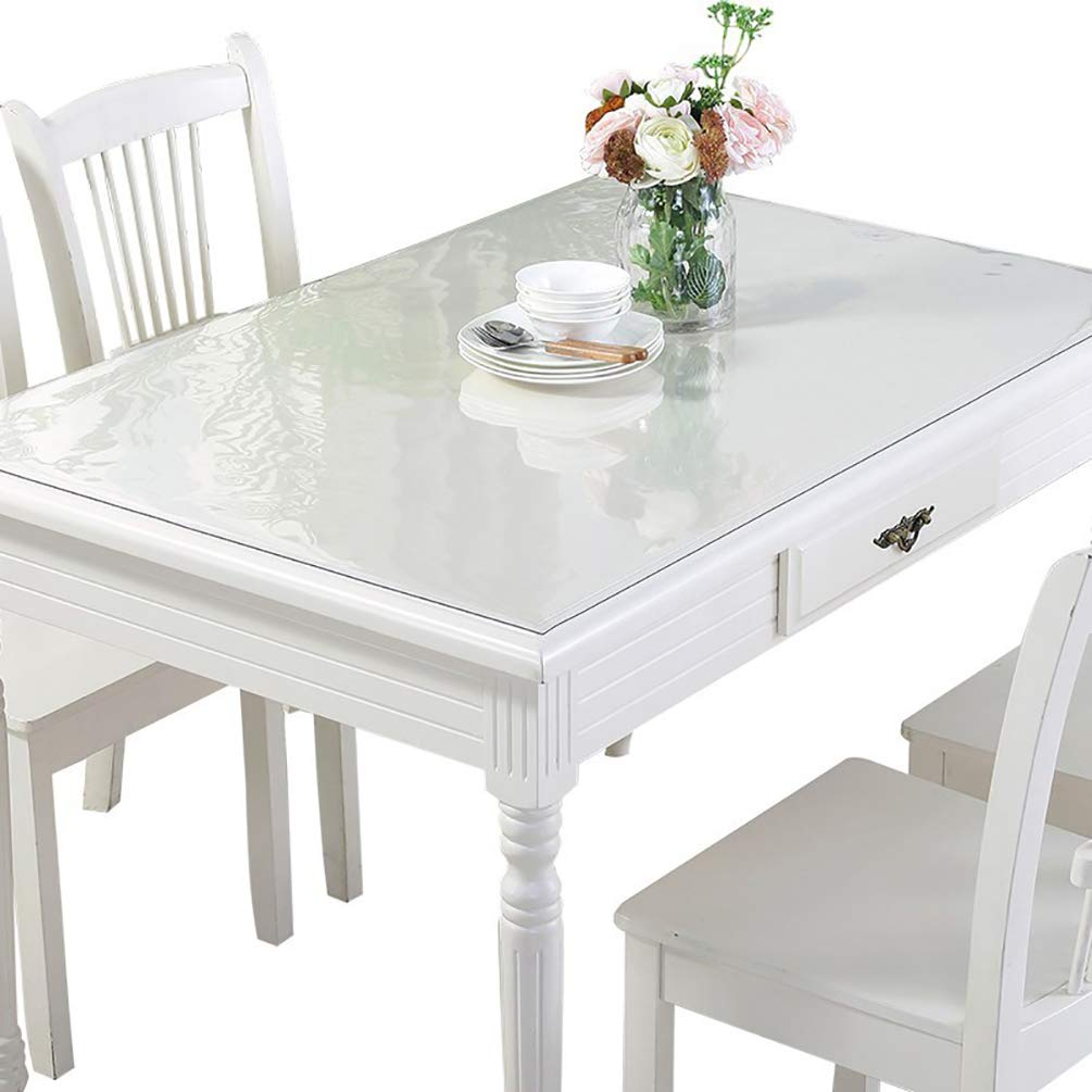 F-NICE Custom Thick 1.5mm Clear PVC Table Cover Protector Plastic Desk Pads Wipe Clear Tablecloth Coffee Dining End Countertop| Rectangular(23.6 x 23.6 Inches(60x60cm)
