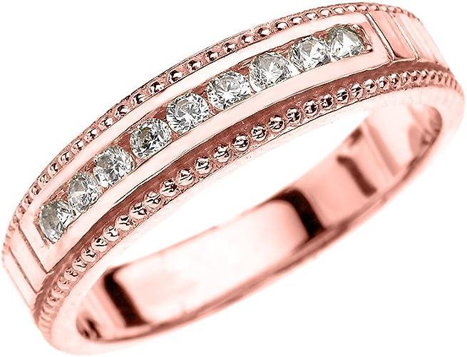 10k Rose Gold Diamond Wedding Band For Him