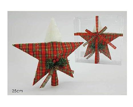 Stella Di Natale In Stoffa.Due Esse Puntale Stella Albero Di Natale 25cm In Stoffa Scozzese