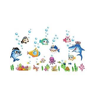Cartoon Underwater World Bagno Camera dei bambini Decorazione della finestra di vetro Adesivo smontabile della parete liberamente Collage
