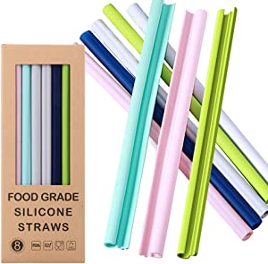 Reusable Silicone Straws-100% Premium Food Grade Drinking Straw, BPA Free, Snap Straw-Openable Design, Easy to Clean, Hot and Cold Compatible