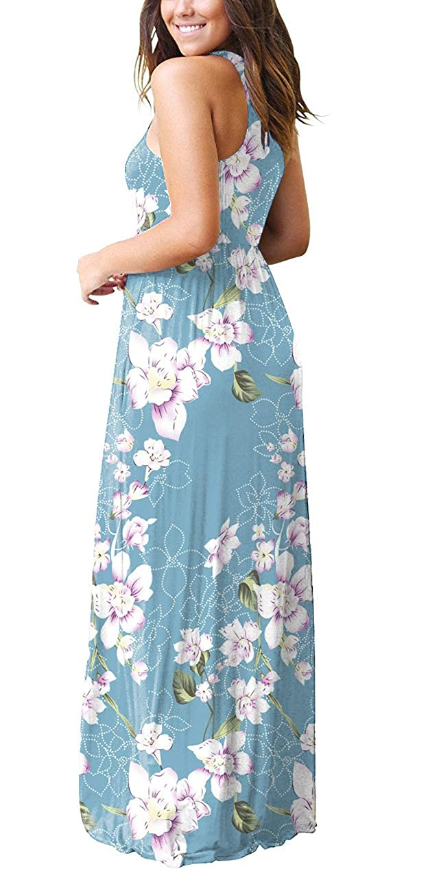 486a8a6ea531 GRECERELLE Women's Summer Sleeveless Racerback Loose Plain Maxi Dress  Floral Print Casual Long Dresses with Pockets at Amazon Women's Clothing  store: