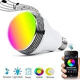 Qili LED電球 高音質 音楽電球 スピーカー内蔵 調光調色 音楽再生 E26 7W RGB 調整可能な色の明るさ モバイルAPPコントロール 1600万色自由操作できる また3000Kから6500Kまで自由に調整 ベッドルームやスタディルームで使用