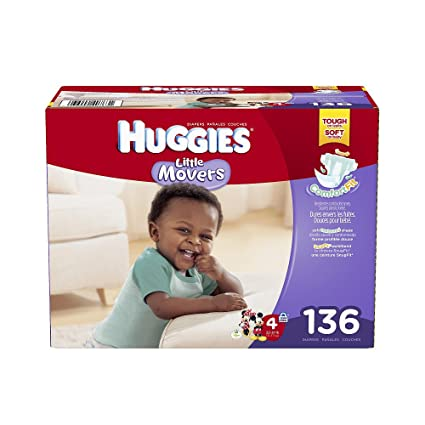 Amazon.com: Huggies Little Movers Size 4 Diapers Value Box - 136 ...