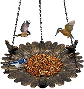 Shrdaepe Bird Feeder Hanging Tray, Metal Hanging Bird Feeder Tray, Seed Tray for Bird Feeders, Hanging Birdbath for Outdoor Garden Backyard Decoration