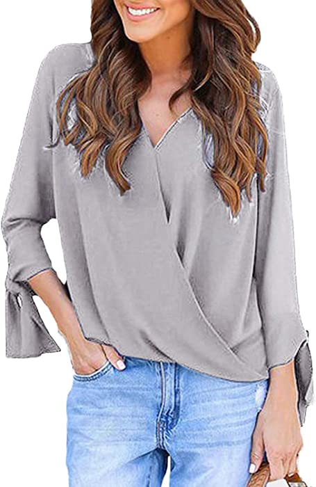 05c57b70cdc535 YOINS Women Blouse V Neck Long Sleeves Crossed Front Fashion T-Shirts  Blouses Top A