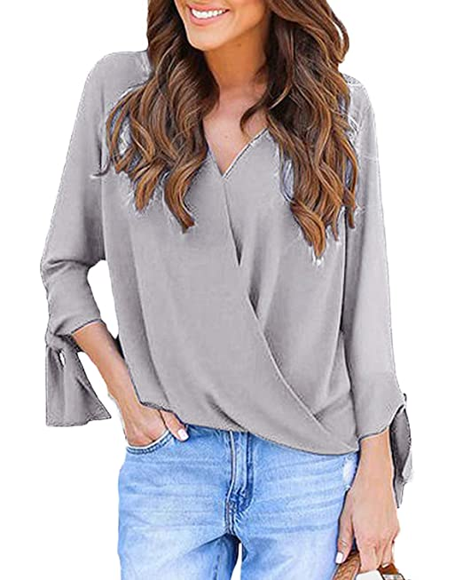 f69a824748 YOINS Tops for Women V-Neck Lace Up Long Sleeve Blouses Shirts with Crossed  Front Design Top  Amazon.co.uk  Clothing