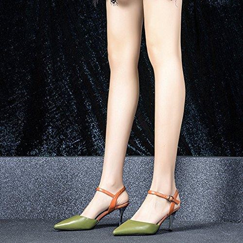 Color YUBIN Mujeres Fino Altos Jóvenes 38 Tacones Mujer Hechizo Green Sandalias Temperamento Cuero Verano Mujeres De Color Nuevas Tamaño Zapatos con con Baotou Verano De 1r0Avw1x