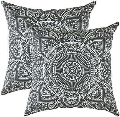 TreeWool - Pack de 2 - Mandala Acento Decorativo Fundas de cojín, 100% algodón (50 x 50 cm / 20 x 20 Pulgadas, Grafito Gris)