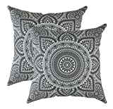 Decorative Pillow Cover - TreeWool, (2 Pack) Throw Pillow Covers Decorative Mandala Accent Decorative Pillowcases Toss Pillow Cushion Shams Slips Covers for Sofa Couch (18 x 18 Inches / 45 x 45 cm; Graphite)