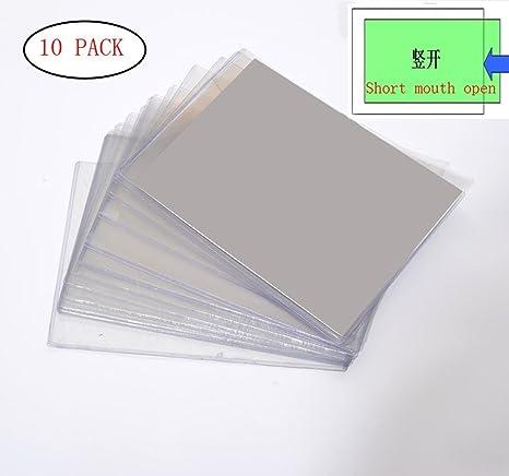 Popowbe - 10 fundas de plástico rígido transparente para archivador con certificado de autenticidad antiarrugas,