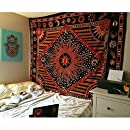 Popular Handicrafts Zodiac Mandala Tapestry Celestial Wall Decor Burning Sun Tapestries Indian College Dorm Hanging Bohemian Hippy Hippie Gypsy tapestry230x215cms By Popular Handicrafts