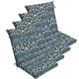 """Comfort Classics Inc. Set of 4 Outdoor Dining Chair Cushions 20""""x 44""""x 3.5""""T; H-24 in Polyester Fabric Sapphire Aurora Damask by"""