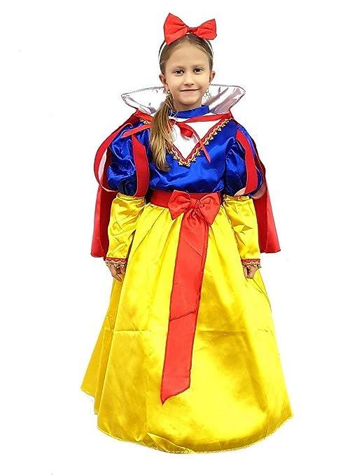 PICCOLI MONELLI Costume Biancaneve Bambina 9 10 Anni Vestito Principessa  Carnevale Misura da Spalla a Terra 793fa095d09