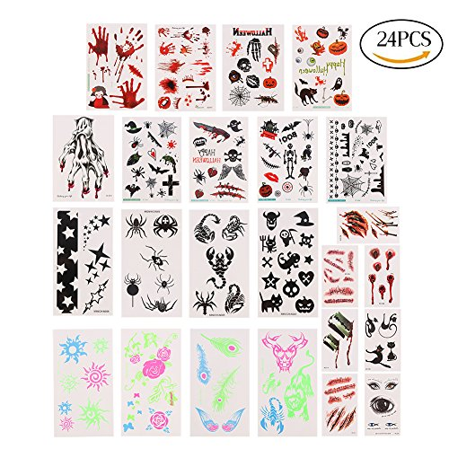 LOKIPA Scary Water Proof Tattoo Stickers for Halloween Cosplay Costume Party Pack of 24 Sheets in 24 Styles