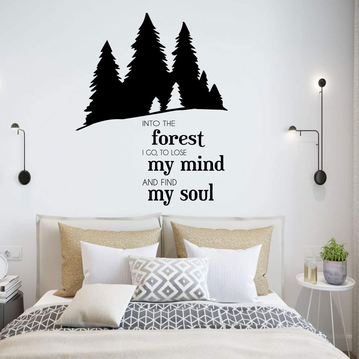 """Outdoors Vinyl Wall Decal - John Muir Nature Quote Lettering Sticker -""""Into The Forest I Go"""" with Pine Tree Silhouettes"""