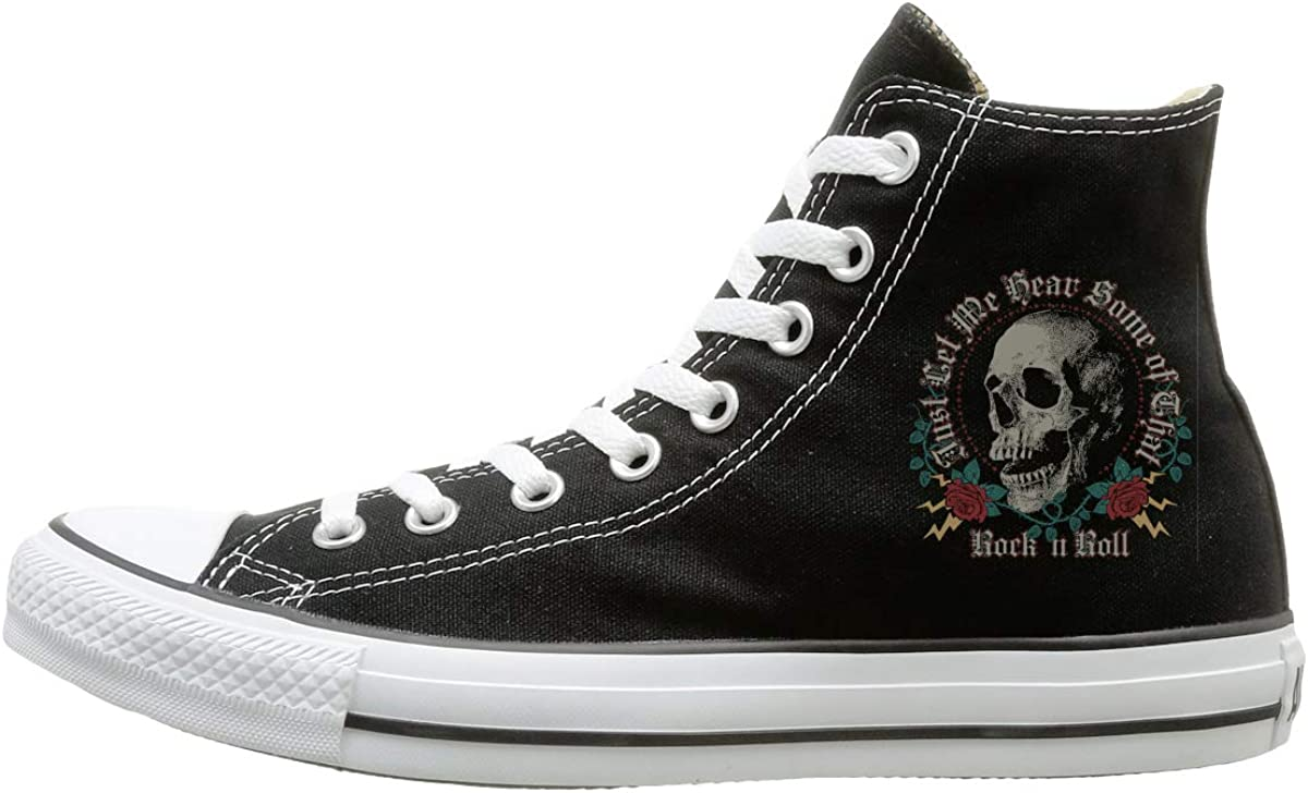 Man Woman High-Top Casual Sneakers Skull And Roses Graphics Lace Up Athletic Sneakers