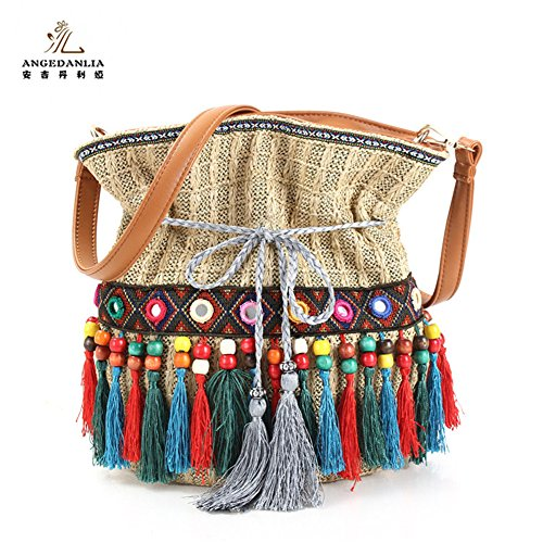 Drawstring Bucket Bag – Angedanlia Handmade Boho Shoulder Bag Woman Tassel Straw Tote Purse 3776-1 (Beige)