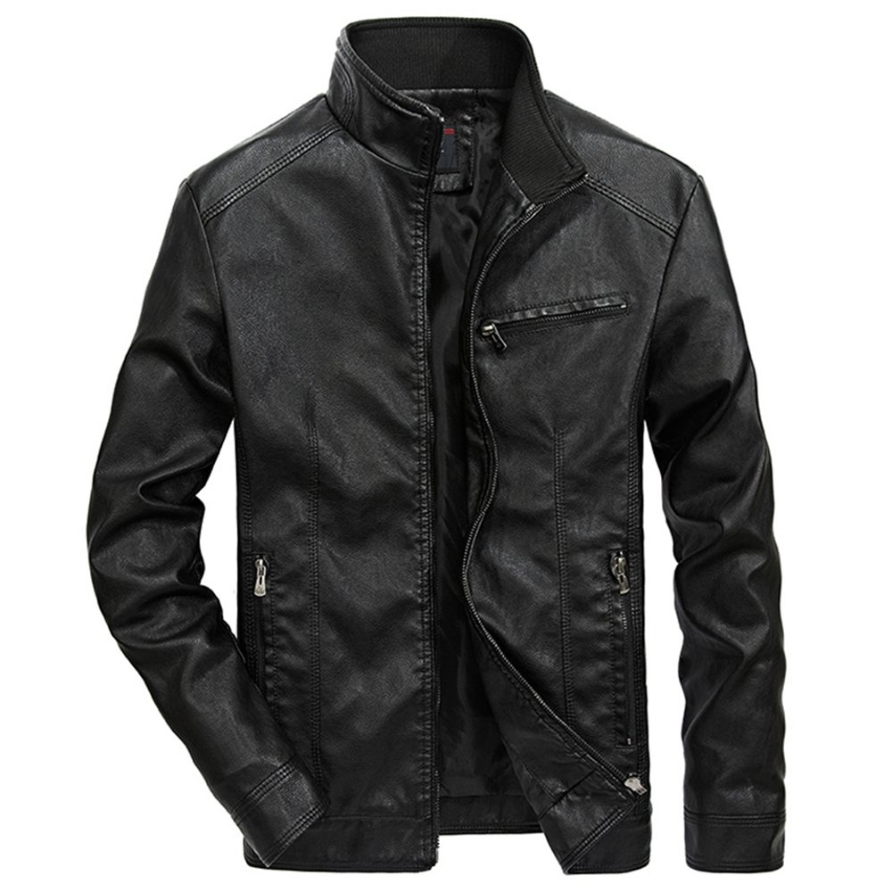 WULFUL Men's Stand Collar Leather Jacket Motorcyle Lightweight Faux Leather Outwear Black-M by WULFUL