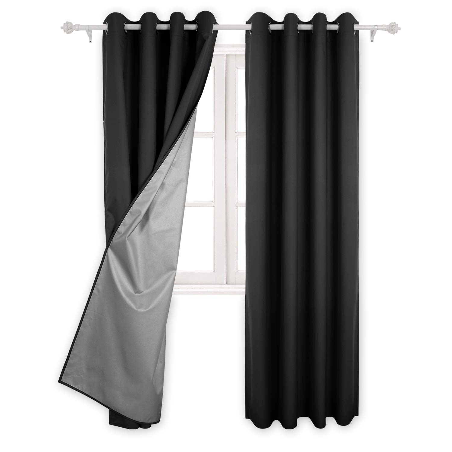 Deconovo Eyelet Curtains Room Darkening Thermal Insulated Ring Top Blackout Curtains for Living Room with Backside Silver Backing to Reflect Sunlights 46 Width x 54 Drop Beige 1 Pair SYNCHKG098078