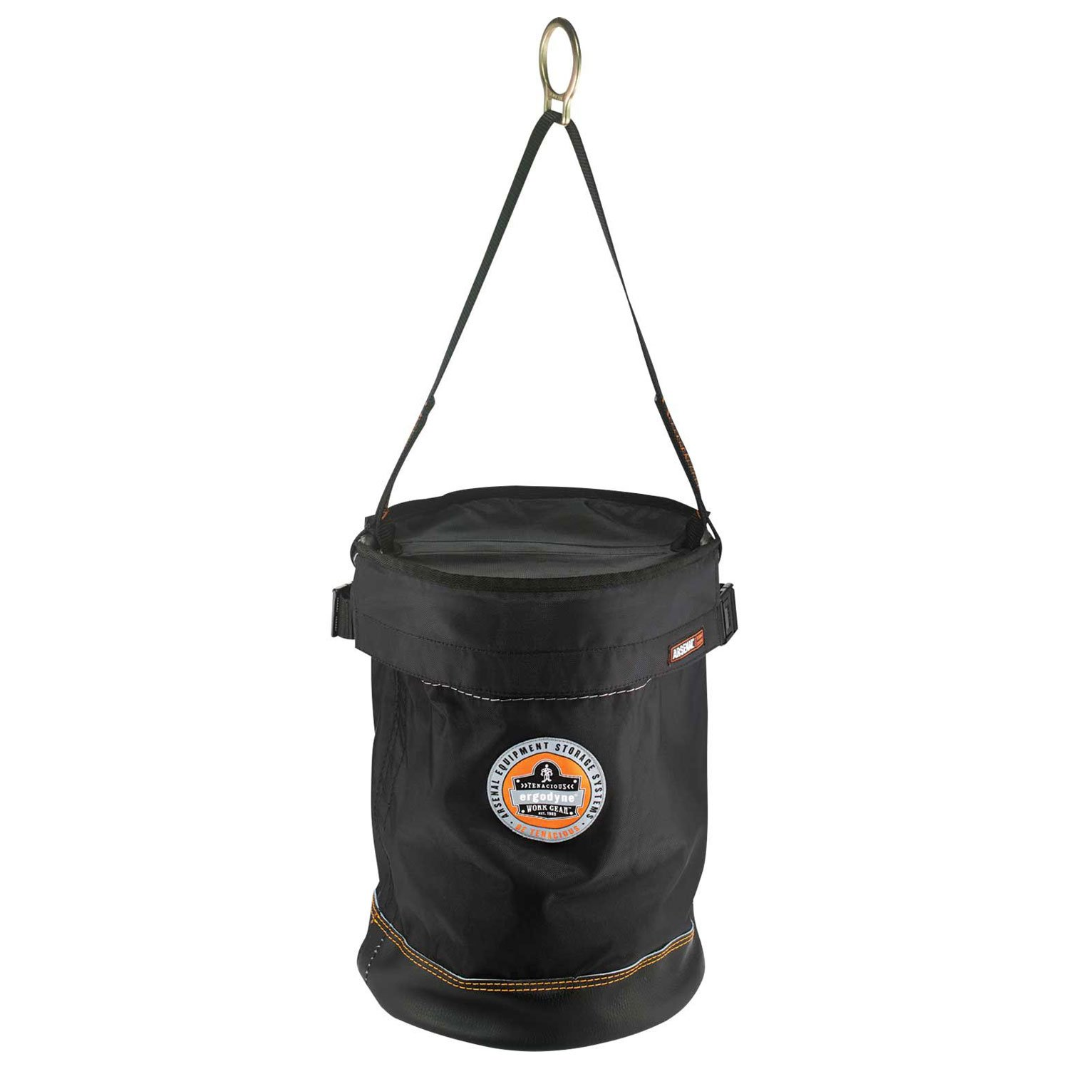 Ergodyne Arsenal 5650T Synthetic Leather Bottom Bucket-D-Ring with Top, 12.5-Inchx17-Inch, Black