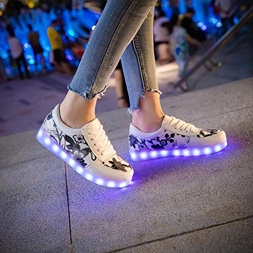 Modus Weise Tanzschuhe helle PU Black des LED Gestickte Farben beiläufige Arten blinkenden und Art der Schuhe sieben ändern und elf qxRSWUAzw
