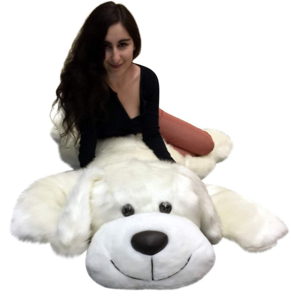 American Made Giant Stuffed 5 Foot Dog 60 Inch Soft Large Plush Puppy White Color by Big Plush