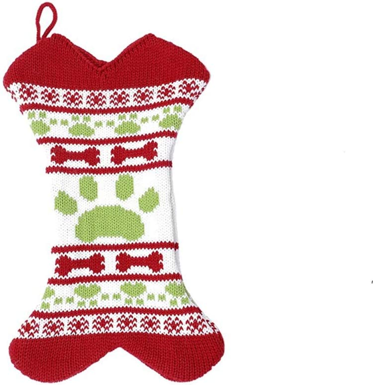 LinLin Christmas Stockings Pets Dog Bone Shaped Xmas Tree Hanging Christmas Stockings Candy Gift Bag Christmas Decorations Ornaments