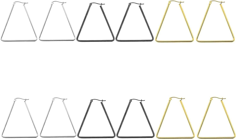 Daesar 6Pares Triángulo Hueco Pendientes de Titanio Mujer Hombre Plata Oro Negro