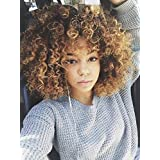 Kinky Curly Synthetic No Lace Wigs for Women Ombre Loose Curls Short Hair Wig with Bangs Brown to Blond
