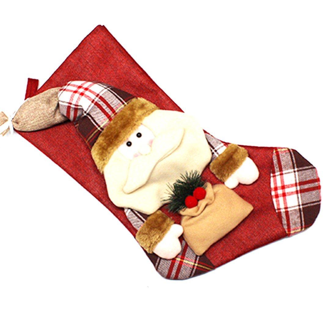 1pcs decoraciones de Navidad de Santa Claus muñeco de nieve de caramelo Calcetines regalos de la decoración del bolso-Elk rongwen