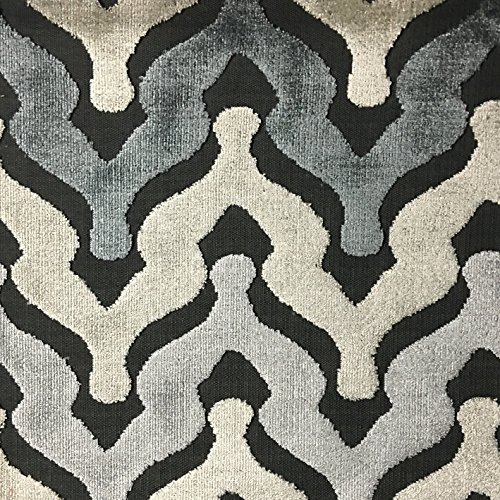 (Leicester - Bold Chevron Cut Velvet Upholstery Fabric by the)