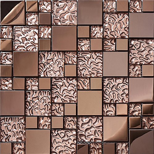 3D Rose Gold glass brick stainless steel kitchen backsplash tiles/interior wall decoration mosaic tiles pack of 11,SA073-9