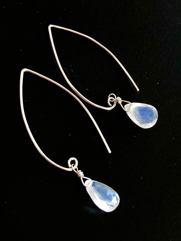 Blue Flash June Birthstone Bridal Jewelry Moonstone Earrings Luxe AAA Sterling Silver Large Pear Briolette