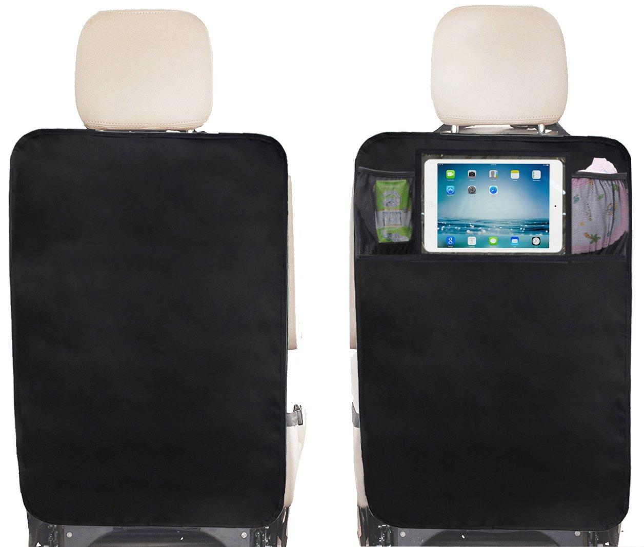 Kick Mats Back Seat Protector 2 Packs with Clear IPAD Holder and Mesh Pocket by Sleeping Lamb