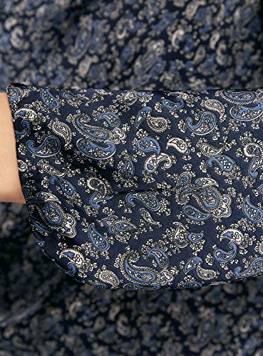 oodji Collection Mujer Blusa Ancha con Escote Gota Azul (7975E)