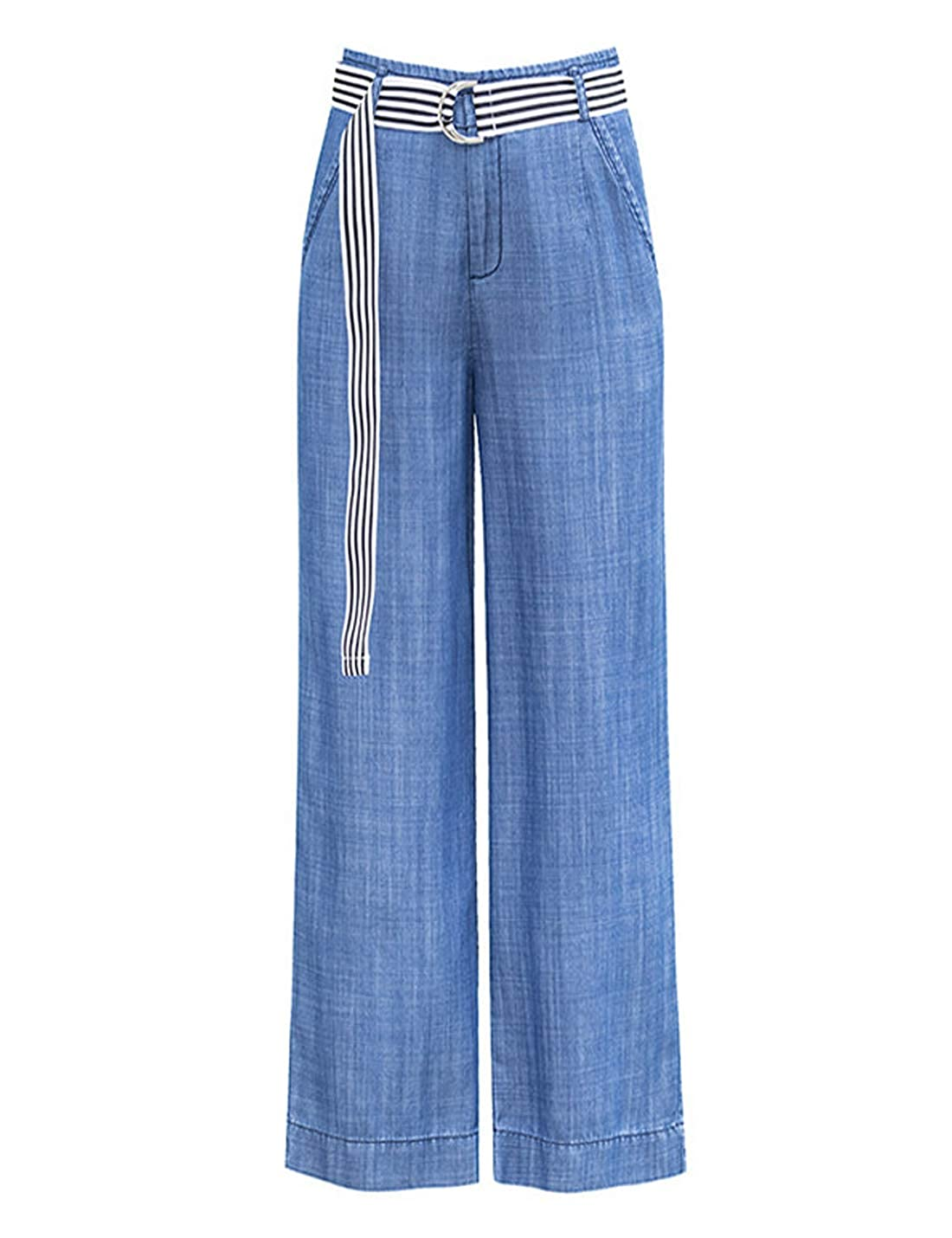 Omoone Womens High Waist Wide Leg Tencel Denim Pants Soft Loose Palazzo Jeans