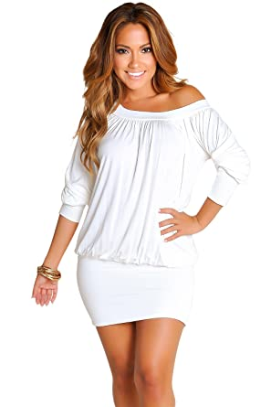 02361c959add Babe Society Women s Off-The-Shoulder Tunic Dress at Amazon Women s  Clothing store