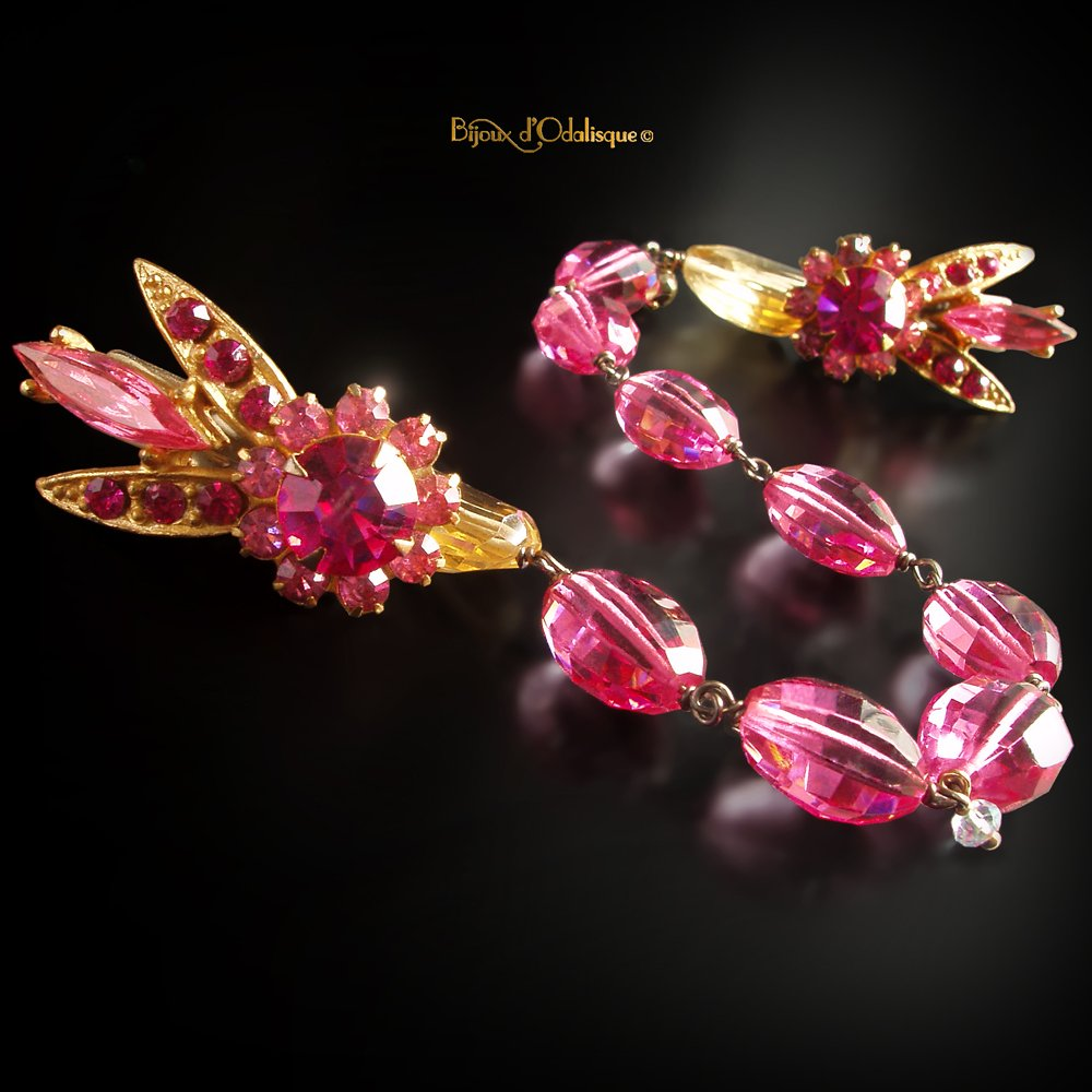 Vintage Bee Sweater Clip with Hot Pink Topaz and Citrine