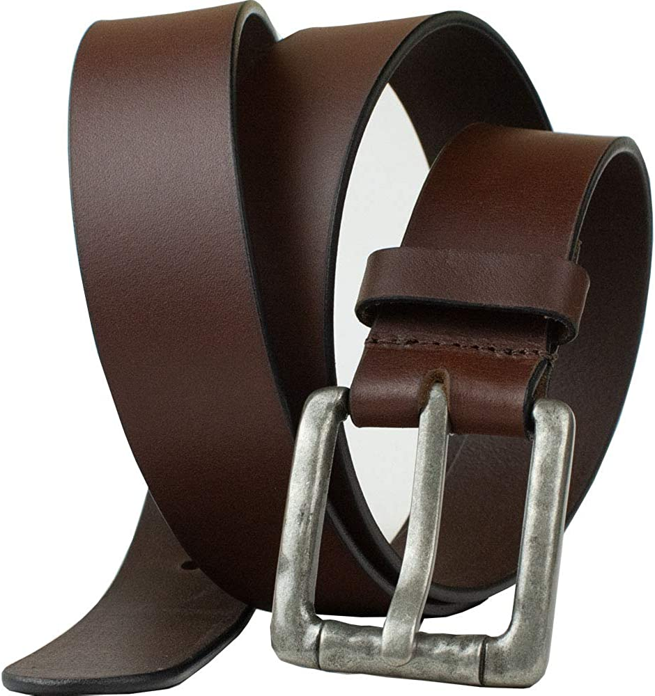 Full Grain Brown Leather Belt with Nickel Free Zinc Buckle Nickel Zero Pathfinder Brown Belt