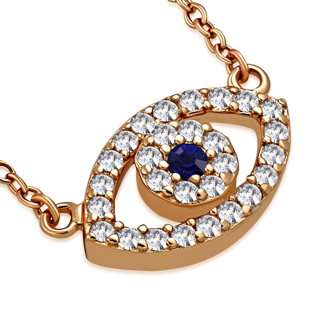 1c43e4489 Amazon.com: 925 Sterling Silver Rose Gold Evil Eye Hamsa White Blue CZ  Womens Pendant Necklace: Chain Necklaces: Jewelry