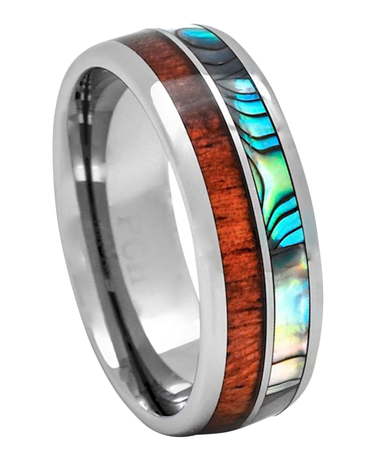 Tungsten Hawaiian Koa Wood and Abalone Inlay Wedding Ring Dome Size 6 to 15
