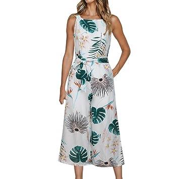 e992ea38998 Amazon.com   Fheaven Women Summer Sleeveless Floral Print Jumpsuit Casual  Wide Leg Pants Holiday Outfits (M