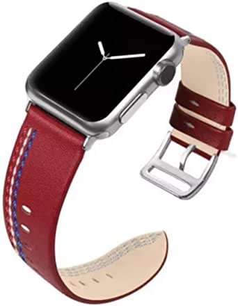 Leather band for apple watch 44mm red color