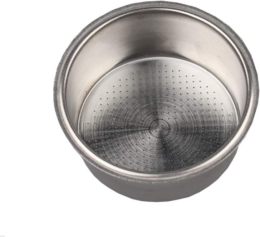 Stainless Steel Coffee Filter, Double Cup Coffee 51mm Single Wall non-pressurized Porous Filter Basket, Suitable for some models of Breville And delonghi, please check the size carefully