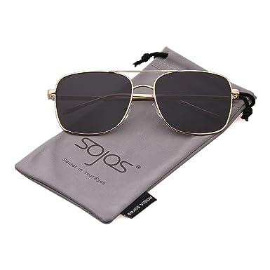SOJOS Mode Polygon Sonnenbrille Damen Herren Verspiegelte Polarisiert Linse Leichte Unisex Brille SJ1072 mit Kaffee Rahmen/Braun Linse ZoXAH