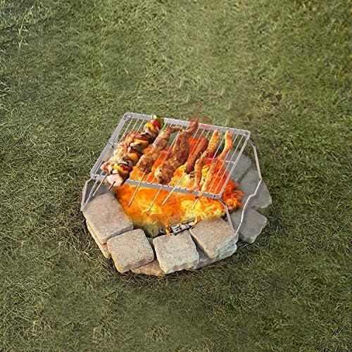 YDYG Pliante Campfire Grill 304 en Acier Inoxydable Grill Grille Camping Portable avec Pieds Barbecue Grill pour Party Camping en Plein air Pique-Nique Randonnée,23 * 19.5 * 11cm