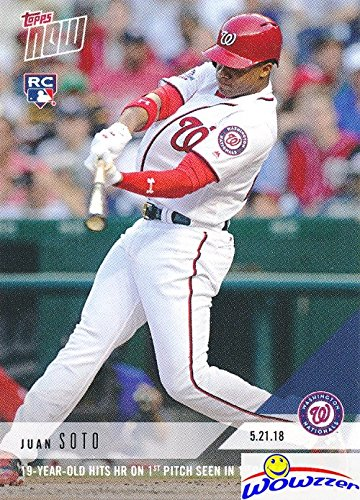 (Juan Soto 2018 Topps Now #235 FIRST EVER PRINTED TOPPS ROOKIE Card in Mint Condition with RC Logo! Shipped in Ultra Pro Top loader! Awesome ROOKIE Card of Washington Nationals 19 Yr old Future Star!)
